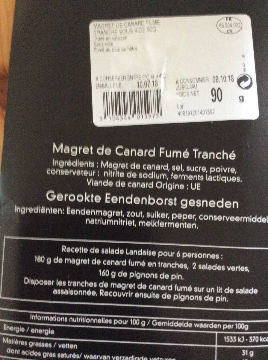 Magret de canard fumé tranché - Ingrediënten - fr