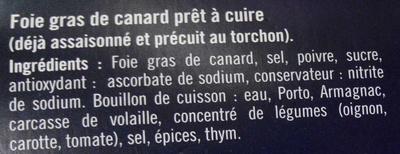 Foie gras au torchon prêt à cuire - Ingredients - fr