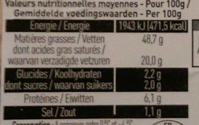 Bloc de Foie Gras de Canard - Nutrition facts - fr