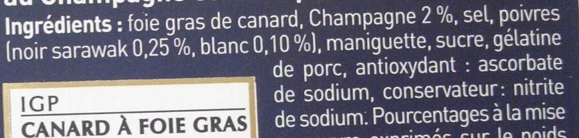 Foie gras de canard entier du Sud-Ouest, recette prestige aux 2 poivres - Ingrédients