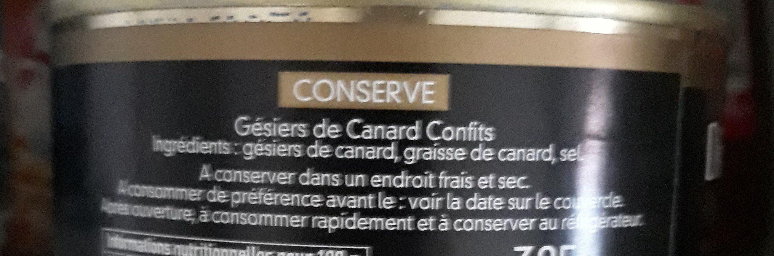 Gesier de canard - Ingrediënten - fr