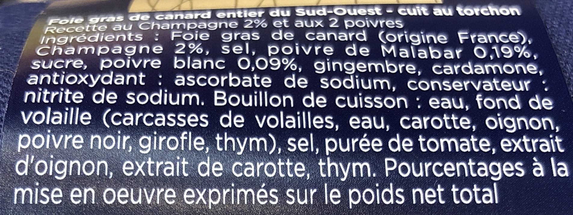 Foie Gras de Canard Entier du Sud-Ouest Grande Sélection - Ingredients