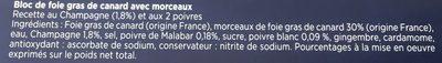Bloc de foie gras de canard avec 30% de morceaux - Ingrediënten