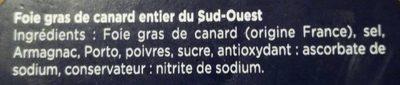 Foie gras de canard du Sud-Ouest - Ingrediënten - fr