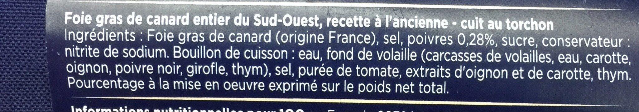 Foie gras de canard entier - Nutrition facts - fr