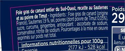 Foie gras de canard entier recette au Sauternes et pincée de poivre Timut - Ingrédients
