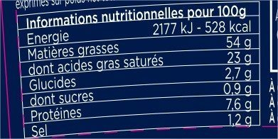Foie gras de canard entier recette au Sauternes et pincée de poivre Timut - Informations nutritionnelles