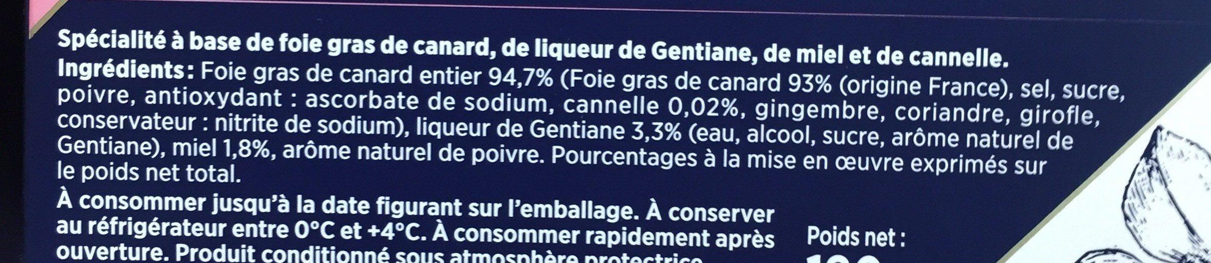 Foie gras de canard Création 2 - Ingrédients