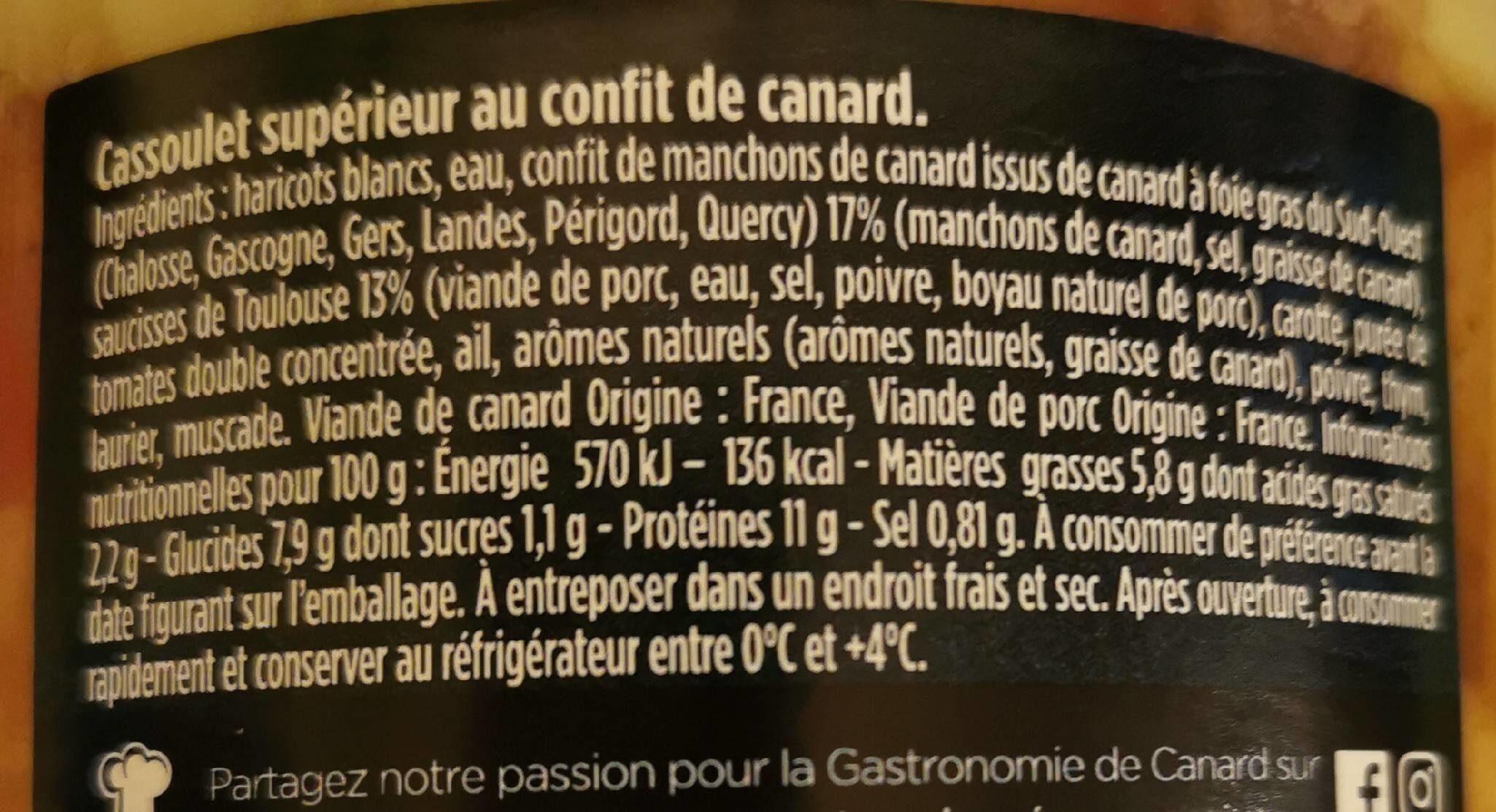 Cassoulet supérieur au confit de canard - Informations nutritionnelles - fr