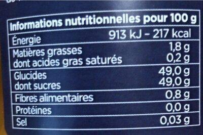 Confit d'abricot du rousillon, mangue & gingembre - Nährwertangaben - fr
