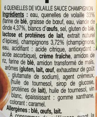 6 quenelles de volaille sauce champignon - Ingrédients