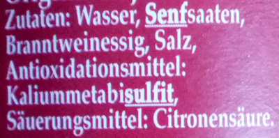 Dijon Senf Original - Inhaltsstoffe