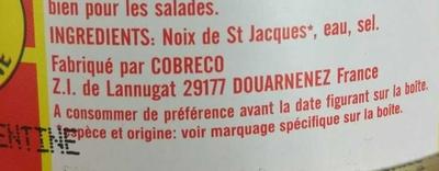 Noix de St Jacques au Naturel - Ingrédients