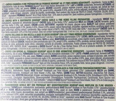 Crêpes Fourrées Fromage Boursin Ail & Fines Herbes - Ingrédients - fr