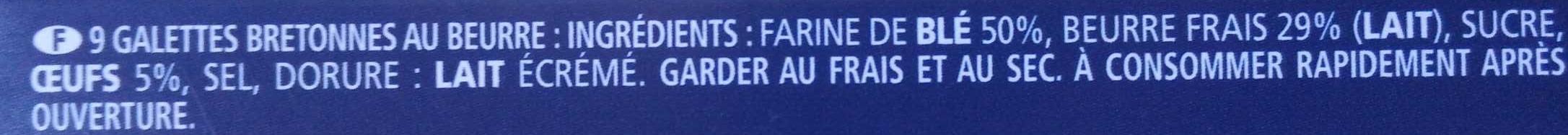 Les Grandes Galettes de Pont-Aven - Ingrédients - fr