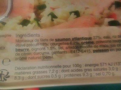 Saumon riz legumes - Informations nutritionnelles - fr