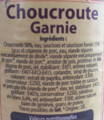 4 / 4 Choucroute Garnie - Ingrédients - fr