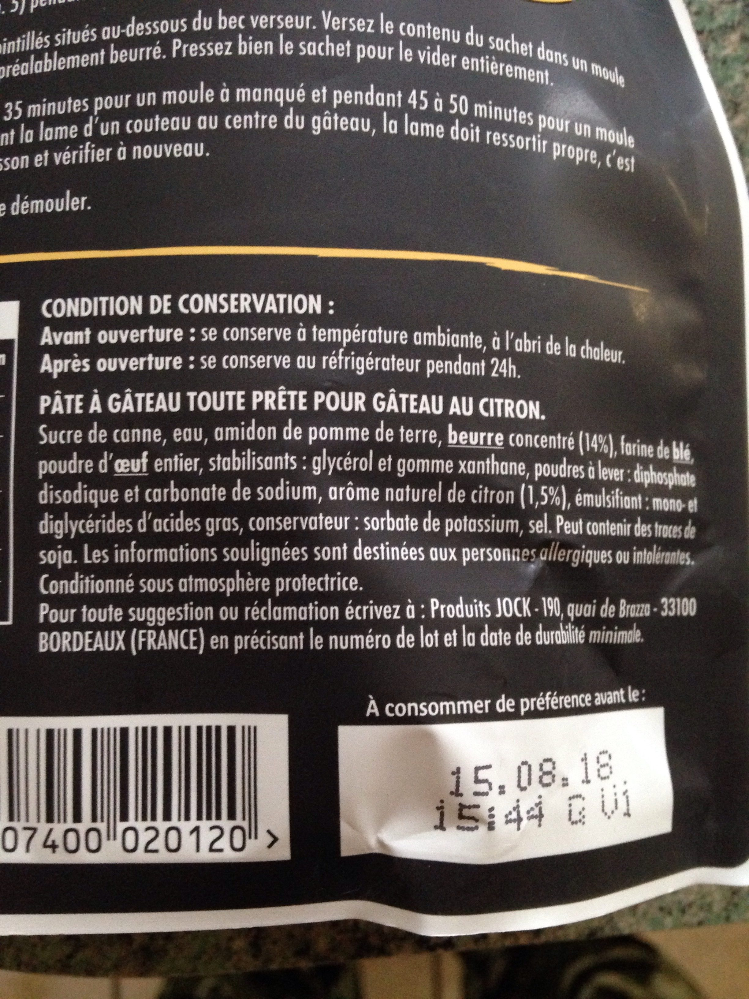 Gateau citron - Ingrediënten