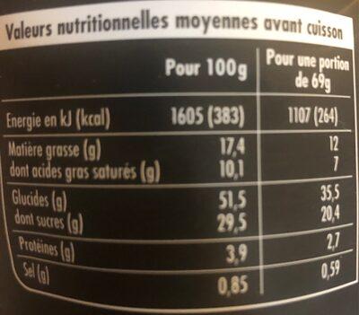 Gateau citron - Informations nutritionnelles - fr