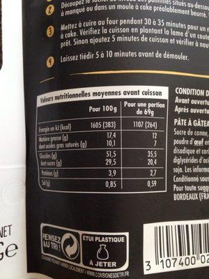 Gateau citron - Voedingswaarden