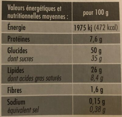 Brownie au chocolat Elot - Nutrition facts - fr