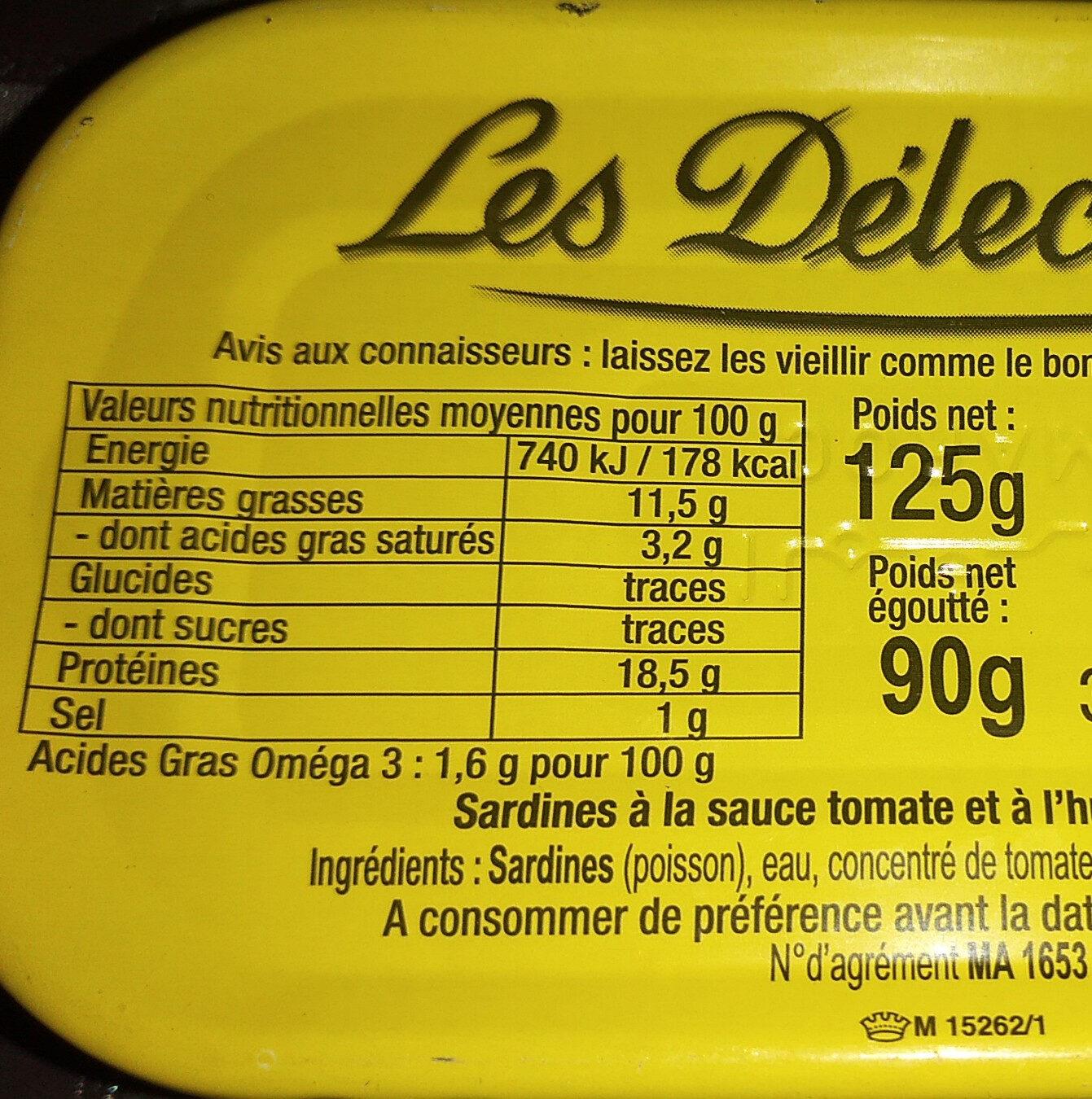 Sardines à la Tomate - Voedingswaarden