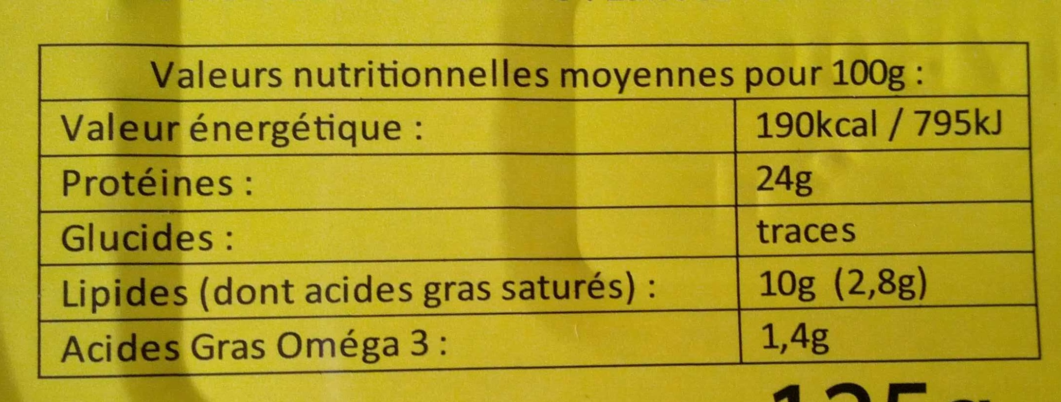 Sardines à l'huile de Tournesol - Nutrition facts