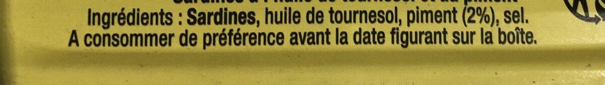 Sardines Piquantes à l'huile de Tournesol - Ingredients - fr