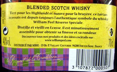 Whisky Ecosse blended sans âge 70 cl William Peel - Ingrédients
