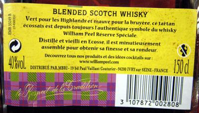 Whisky Ecosse blended sans âge 150 cl William Peel - Ingrédients - fr