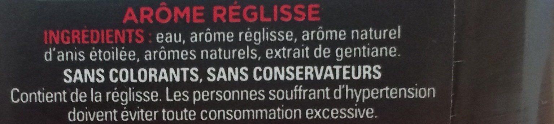 Concentré de Réglisse et arôme naturel Anis - Ingredients
