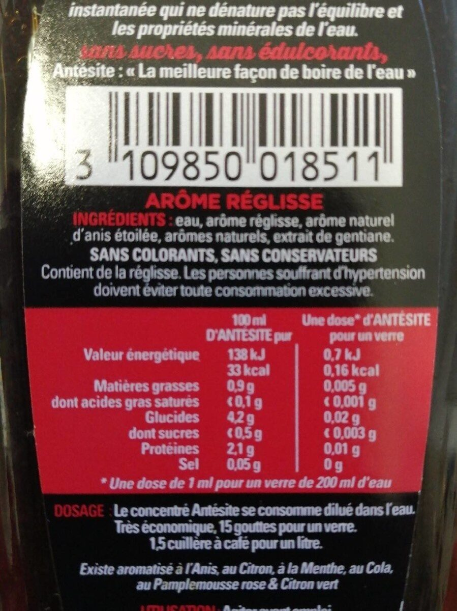Ultra-Concentré Réglisse Anis - Nutrition facts - fr