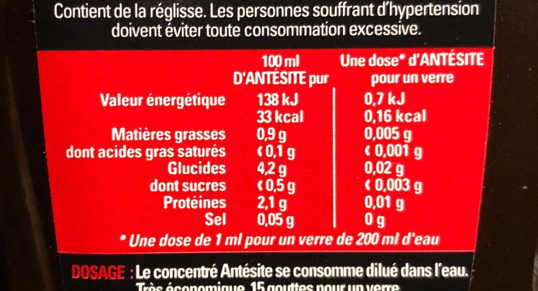Concentré de Réglisse et arôme naturel Anis - Nutrition facts