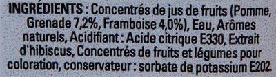 Fruisite Framboise Grenade - Ingrédients