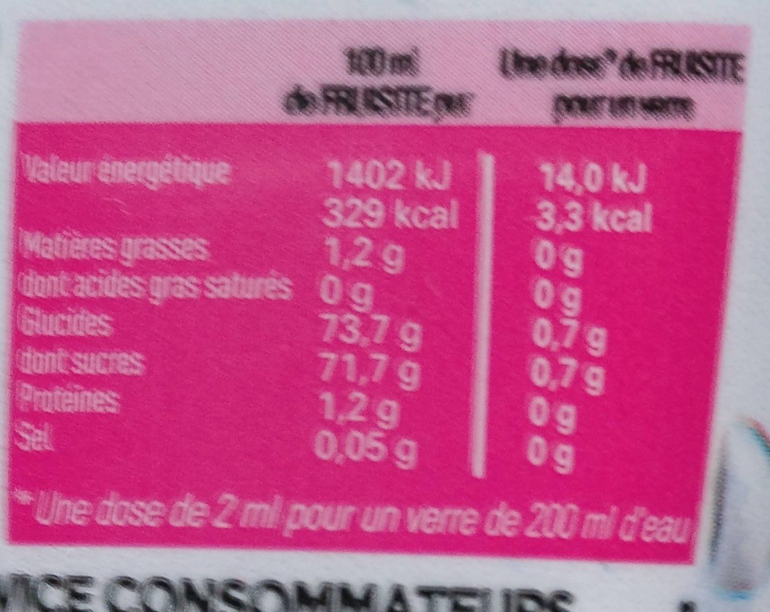 Fruisite Framboise Grenade - Informations nutritionnelles