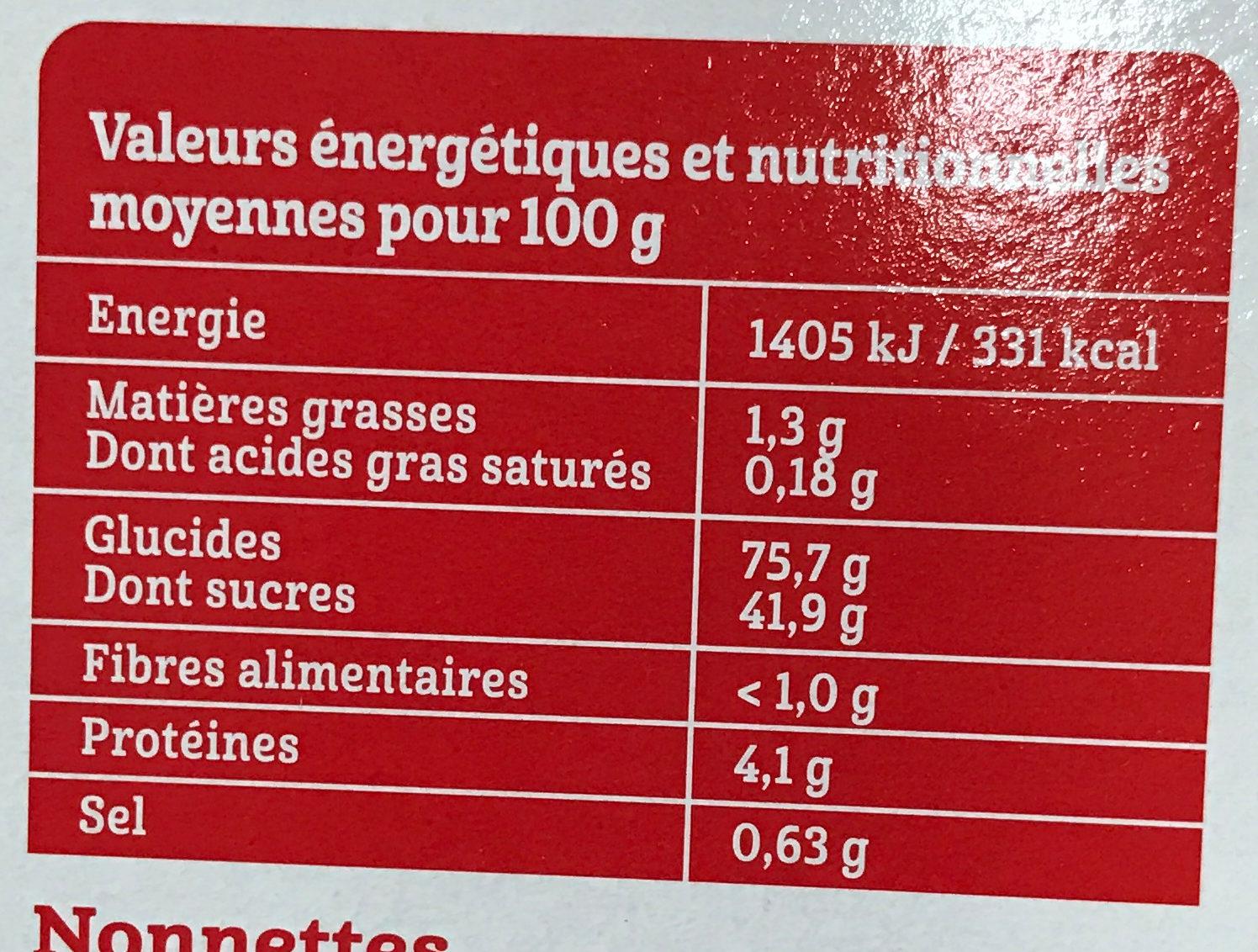 La Nonnette Myrtille - Informations nutritionnelles