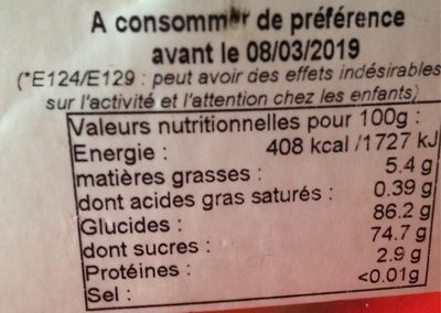 Pralines aux Amandes - Nutrition facts