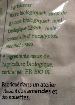 Bonbons au miel saveur eucalyptus - Ingredienti - fr