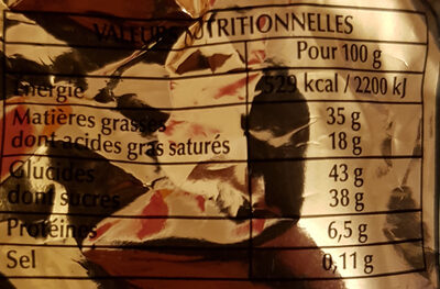 Papillotes Noir Chic - Informations nutritionnelles - fr