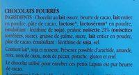 Les lapins gourmands Chocolat au lait Coeur Praliné Noisettes - Ingredients
