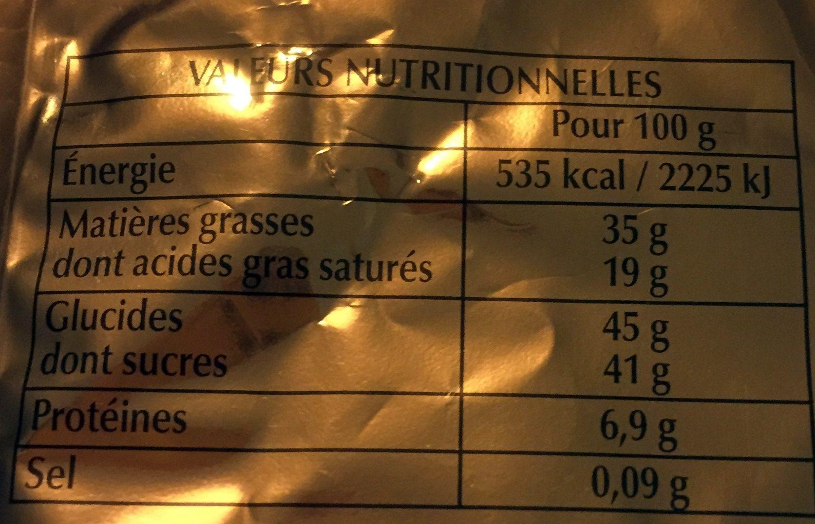 Papillotes Noir & Lait Étincelant - Voedingswaarden - fr