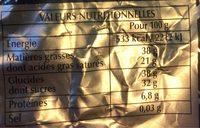Papillotes Grands cafés - Informations nutritionnelles