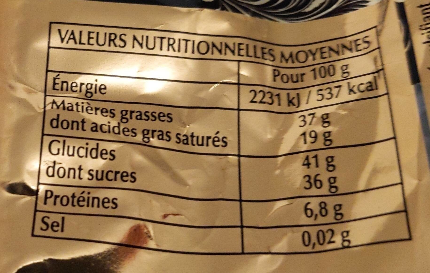 Papillotes noir chic - Nutrition facts - fr