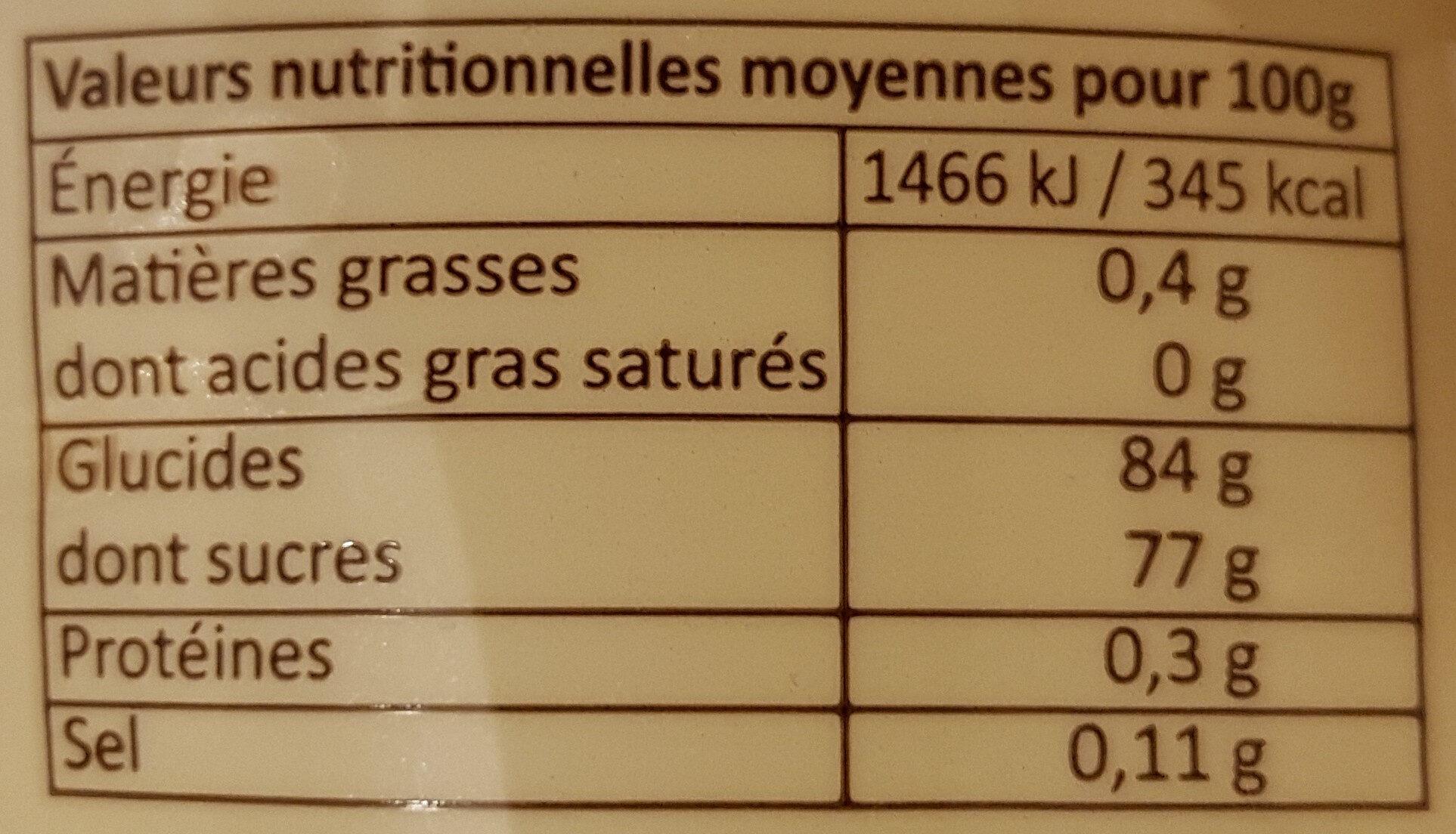 Assortiment de pâtes de fruits - Nutrition facts