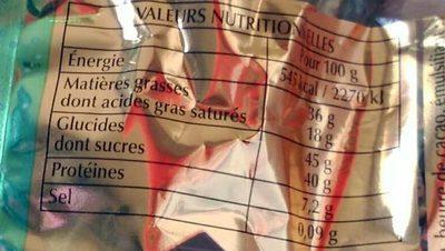 Duo d'Éclats Noir et Lait - Informations nutritionnelles - fr