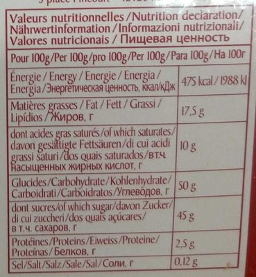 Les Guinettes - Bonbons de chocolat - Valori nutrizionali - fr