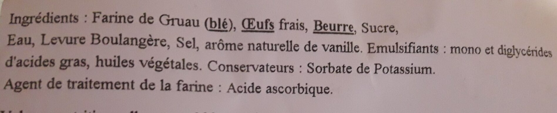 Brioche boule - Ingrédients - fr