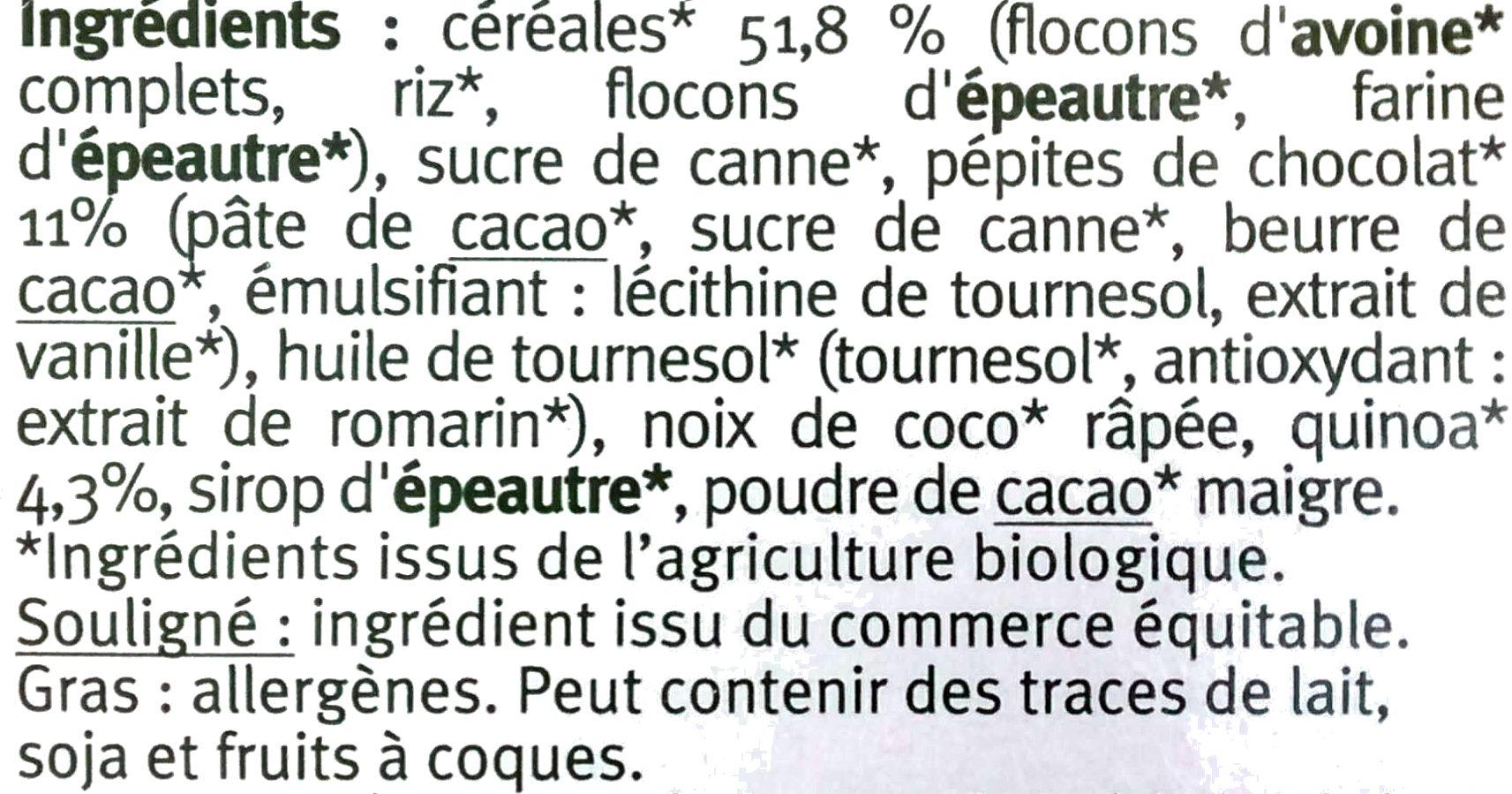 Muesli croustillant quinoa chocolat - Ingrediënten - fr