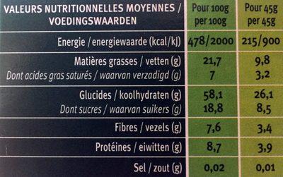 Muesli croustillant quinoa chocolat - Voedingswaarden - fr