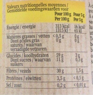 Chicorée instantanée - Nährwertangaben - fr
